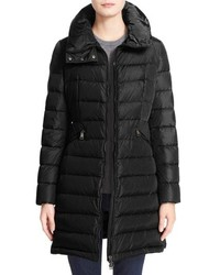 Moncler Flammette Water Resistant Long Hooded Down Coat