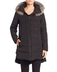 Derek Lam 10 Crosby Fox Fur Trim Down Puffer Jacket