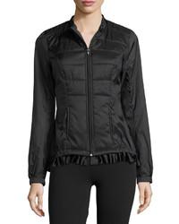 Charlie Jade Frill Hem Puffer Jacket Black