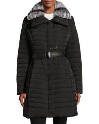 GORSKI Fur Trim Belted Puffer Coat Black