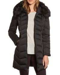 Tahari Gwen Chevron Down Feather Faux Fur Coat