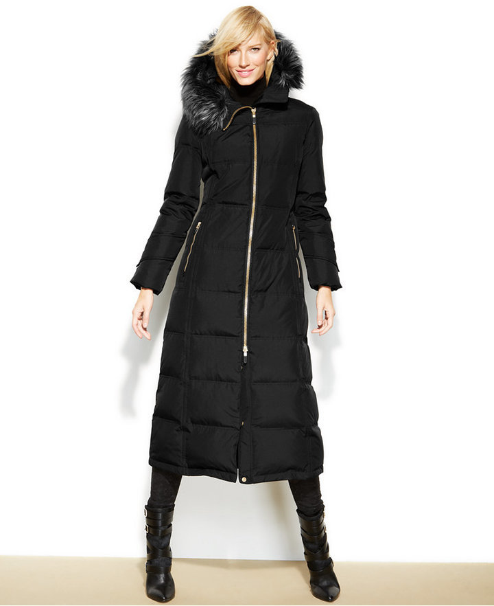 ac26aa4630a $350, Calvin Klein Hooded Faux Fur Trim Down Puffer Maxi Coat