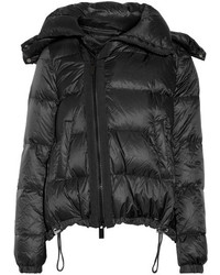 Sacai Hooded Shearling Trimmed Quilted Shell Down Coat Black