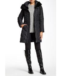 Tahari Kim Faux Fur Trim Down Puffer Coat