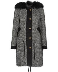 Moncler Lara Faux Shearling Trimmed Tweed Down Coat Black