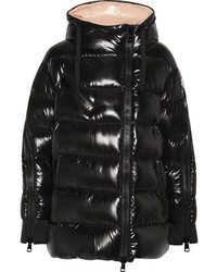Moncler Liriope Quilted Glossed Shell Down Hooded Coat Black