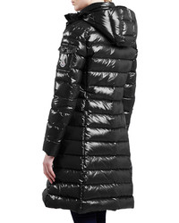 ... Moncler Long Puffer Coat With Hood Black