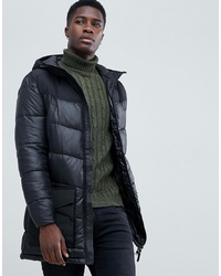 Tom Tailor Longline Puffer Jacket With Hood In Black