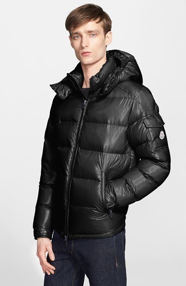 ... Black Puffer Coats Moncler Maya Lacquered Down Jacket ...