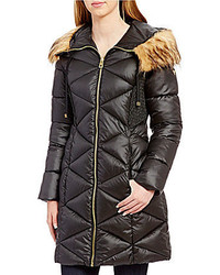 GUESS Mock Neck Zip Front Faux Fur Hooded Quilt Puffer Coat