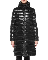 Moncler Moka Shiny Fitted Puffer Coat With Hood