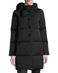 Kate Spade New York Funnel Neck Puffer Coat With Bow