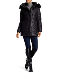 Noize India Removable Faux Fur Trim Hooded Puffer Coat