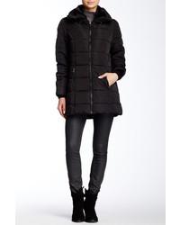 Steve Madden Packable Hood Faux Fur Trim Puffer Coat