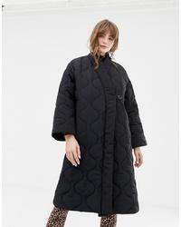 Monki Padded V Neck Coat In Black