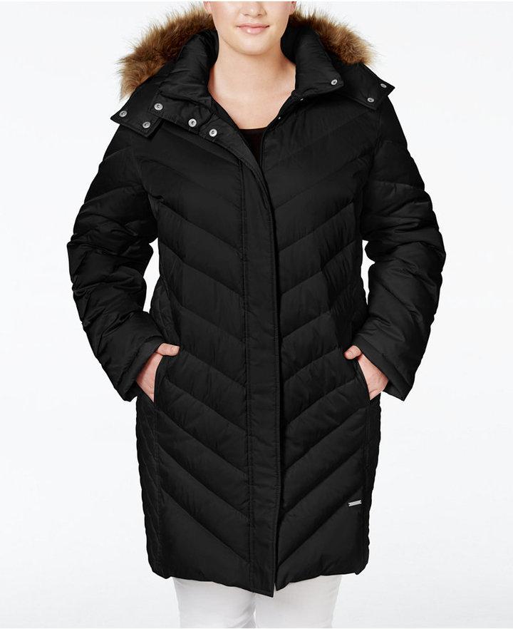 7f482c078c6c Kenneth Cole Plus Size Faux Fur Trim Chevron Quilted Down Puffer Coat
