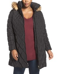 Jessica Simpson Plus Size Quilted Puffer Coat With Faux Fur Trim