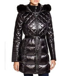 BCBGMAXAZRIA Quilted Coat With Fox Trim