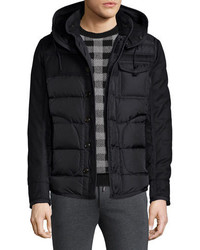 Moncler Ryan Nylon Wool Hooded Puffer Jacket Black