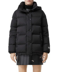 Burberry Sellindge Tb Jacquard Econyl Down Puffer Coat