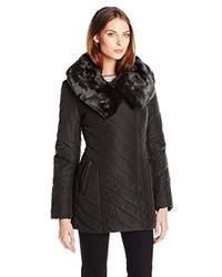 Steve Madden Asymmetrical Zip Front Puffer Coat