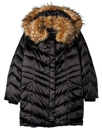 Steve Madden Down Filled Puffer Coat With Faux Fur Trimmed Hood