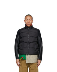 Undercover Black And Multicolor Kolor Edition Down Leather Sleeve 30th Jacket