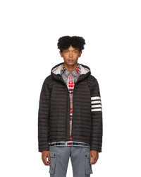 Thom Browne Black Down 4 Bar Quilted Hooded Jacket