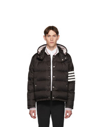 Thom Browne Black Down 4 Bar Snap Front Bomber Jacket