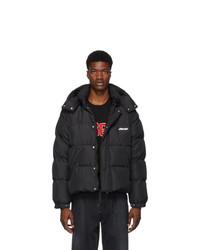 MSGM Black Down Convertible Jacket