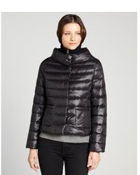 T Tahari Black Puffer Sandra Short Stand Collar Down Filled Coat