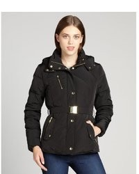 Cole Haan Black Quilted Down Filled Belted Short Puffer Coat