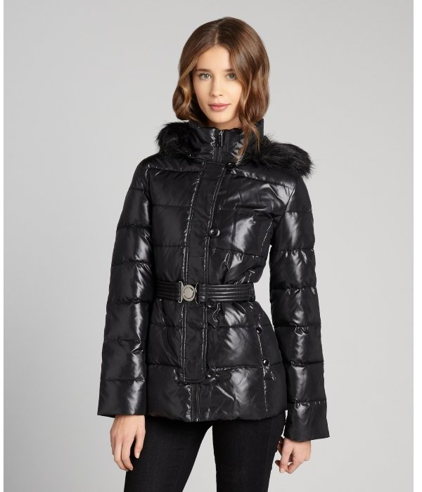 292a47802 DKNY Black Quilted Puffer Belted Faux Fur Trim Hooded Coat, $159 ...