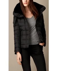 Burberry Brit Down Filled Puffer Jacket With Shearling Topcollar
