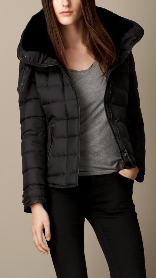 d6a731e200 $1,295, Burberry Brit Down Filled Puffer Jacket With Shearling Topcollar