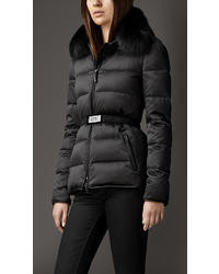 Burberry Fur Trim Technical Satin Puffer Jacket