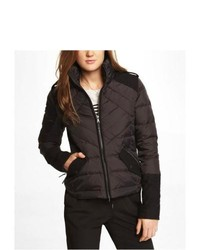 Express Mixed Media Down Filled Puffer Jacket Black Large