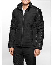 Calvin Klein Faux Leather Neoprene Puffer Jacket