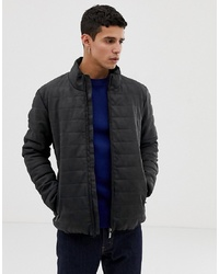 Esprit Faux Leather Padded Jacket In Dark Grey