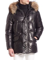 Bally Fur Trimmed Leather Puffer Jacket