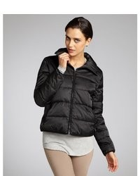 Wyatt Gunmetal Quilted Spread Collar Zip Up Down Filled Puffer Jacket