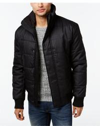DKNY Jeans Herringbone Print Puffer Jacket