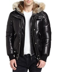 Mackage Leather Down Bomber Jacket Wcoyote Rabbit Fur Trim Black