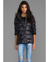 Juicy Couture Long Puffer Jacket W Faux Fur
