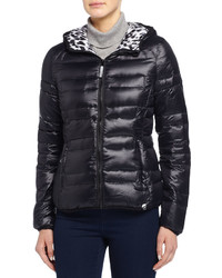Marc Ny Performance Hooded Quilted Puffer Jacket Wcontrast Lining Black Blurry