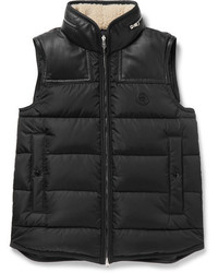 Moncler Millais Leather Trimmed Quilted Shell Down Jacket