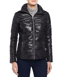 Andrew Marc Mixed Media Puffer Jacket Wrib Trim Black