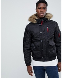 Pier One Padded Bomber Jacket In Black With Faux Fur Hood