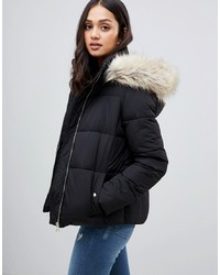Miss Selfridge Padded Jacket With Faux In Black