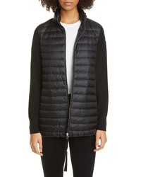 Moncler Quilted Down Wool Long Cardigan
